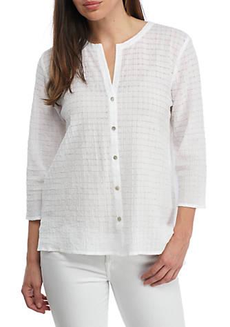 Eileen fisher organic cotton voile round neck shirt belk for Eileen fisher organic cotton t shirt