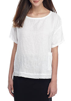 Eileen Fisher Short Sleeve Boxy Silhouette Woven Top