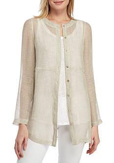 Eileen Fisher Round Neck Button Tunic Top