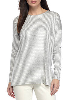 Eileen Fisher Round Neck Gray Stripe Box Top