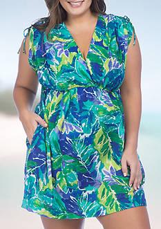 Lauren Ralph Lauren Plus Size Lush Tropical Farrah Dress Swim Cover Up