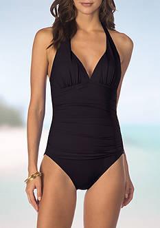 Lauren Ralph Lauren Beach Club Solids Halter One Piece Swimsuit