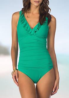 Lauren Ralph Lauren Beach Ruffle Surplice One Piece