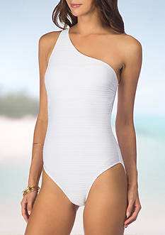 Lauren Ralph Lauren Ottoman Asymmetric One-Piece Swimsuit