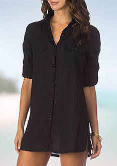 Lauren Ralph Lauren Crushed Camp Shirt Swim Cover Up