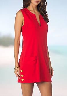 Lauren Ralph Lauren Button Hem Tunic Swim Cover Up