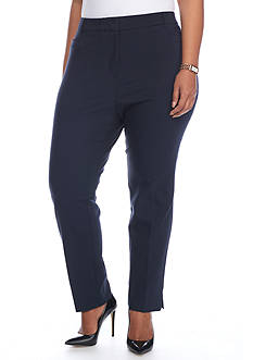 Kim Rogers® Plus-Size Cotton Flat Front Pants