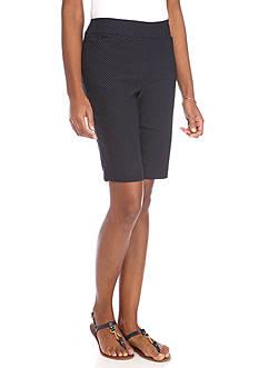 Kim Rogers Super Stretch Dot Print Bermuda Shorts