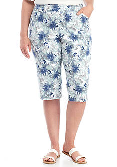 Kim Rogers Plus Size Floral Print Super Stretch Capri