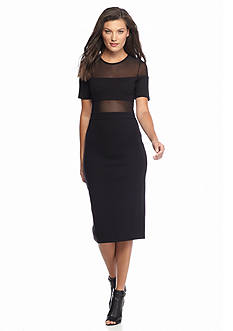 French Connection Linear Mesh Sheath Dress