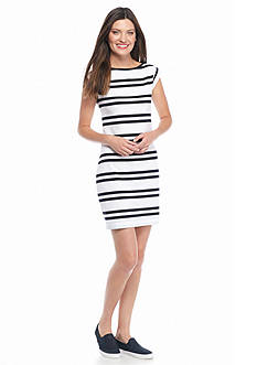 French Connection Striped Cap Sleeve Jersey Dress