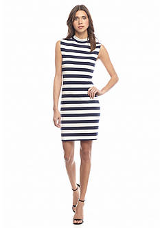French Connection Liquorice Lines Sleeveless Striped Dress