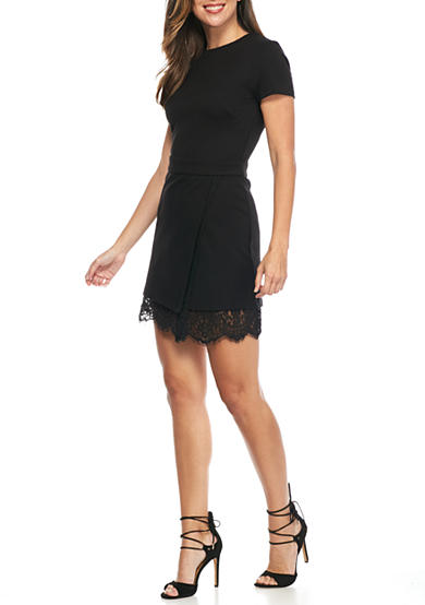 French Connection Lula Stretch Lace Trim Dress