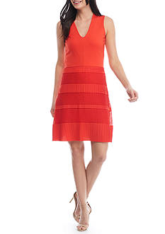 French Connection Pleated Lace Jersey Dress