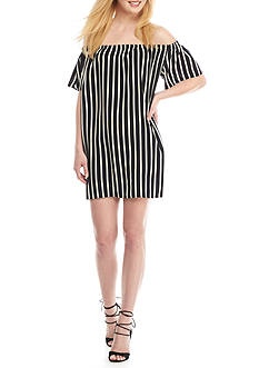 French Connection Polly Plains Off The Shoulder Stripe Dress