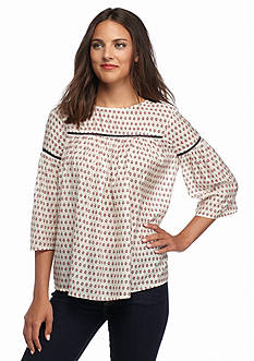 French Connection Bacongo Dot Peasant Top