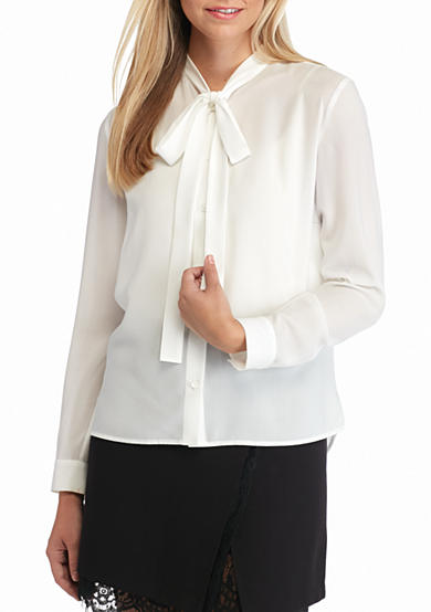 French Connection Tie Neck Blouse