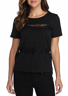 French Connection Polly Plains Lace Inset Top