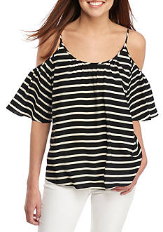 French Connection Striped Polly Plains Cold Shoulder Top