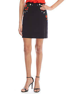 French Connection Margritte Embroidery Ponte Skirt