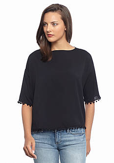 French Connection Polly Plains Pom Pom Top