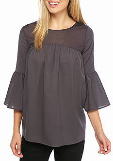French Connection Polly Plains Ruffle Sleeve Top