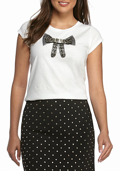 French Connection Sparkling Bow Tee