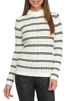 French Connection Mock Neck Striped Sweater