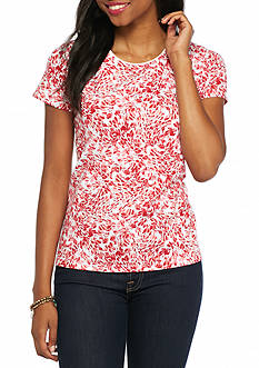 Kim Rogers Petite Floral Breeze Print Knit Top