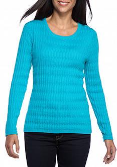 Kim Rogers Petite Oblong Jacquard Crewneck Sweater