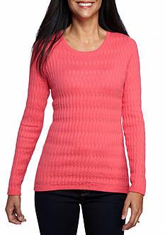 Kim Rogers Petite Oblong Jacquard Crew Neck Sweater