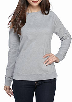 Kim Rogers Petite French Terry Crew Sweatshirt Solid