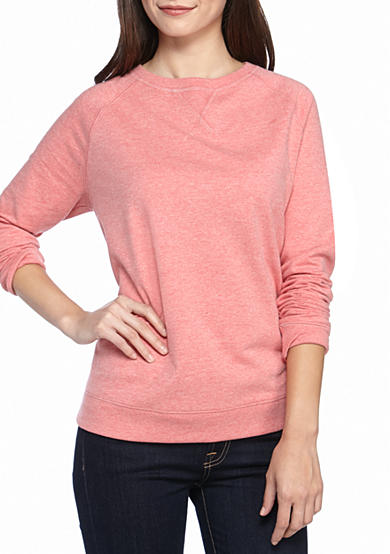 Kim Rogers® Petite French Terry Crew Sweatshirt Solid