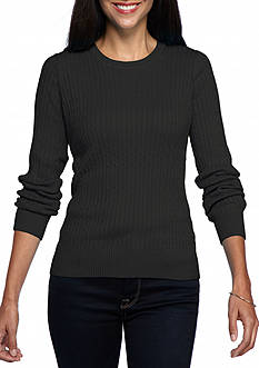 Kim Rogers Petite Cable Crew Solid