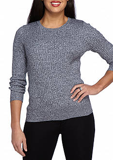 Kim Rogers Petite Cable Crew Two Color Marled Top
