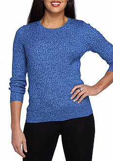 Kim Rogers Petite Cable Crew Two Color Marled Sweater