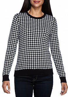 Kim Rogers Petite Houndstooth Jacquard Crew Neck Sweater