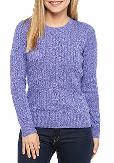 Kim Rogers® Petite Marled Cable Knit Top