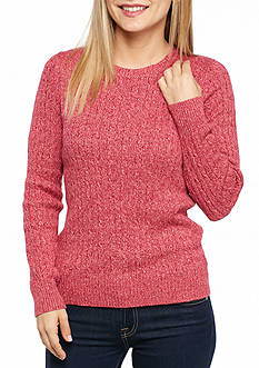 Kim Rogers Petite Marled Cable Knit Top