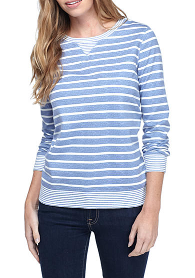 Kim Rogers® Petite Size French Terry Striped Shirt