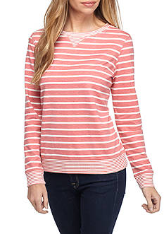 Kim Rogers Petite Size French Terry Striped Shirt