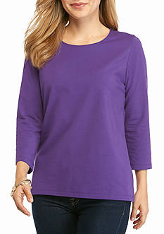 Kim Rogers® Petite 3/4 Sleeve Jewel Neck Solid Top