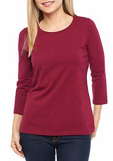 Kim Rogers Petite 3/4 Sleeve Jewel Neck Solid Top