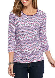 Kim Rogers Petite Three Quarter Sleeve Chevron Print Top