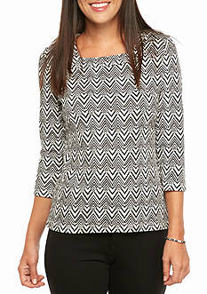 Kim Rogers Petite Square Neck Chevron Knit Top
