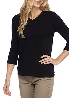Kim Rogers® Petite Size Three Quarter Sleeve V Neck Knit Top