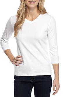 Kim Rogers Petite Size Three Quarter Sleeve V Neck Knit Top