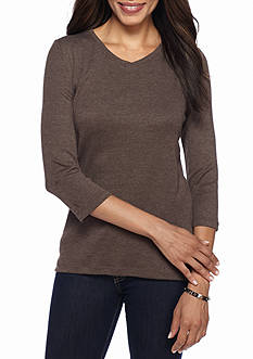 Kim Rogers Petite V-Neck Knit Top