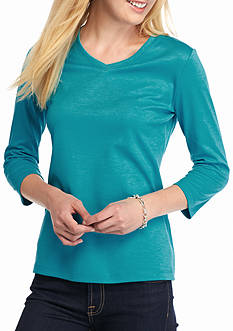 Kim Rogers Petite V-Neck Knit Top