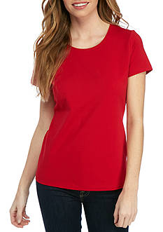 Kim Rogers Petite Solid Scoop Neck Tee